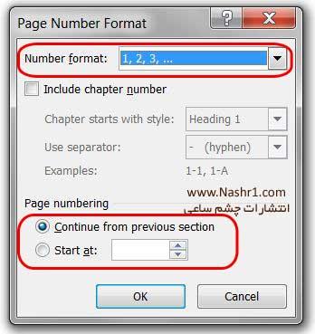 شماره گذاری متفاوت صفحات کتاب در بخش های مختلف